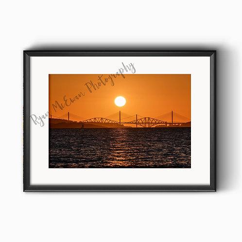 Forth Bridges Sunset Print