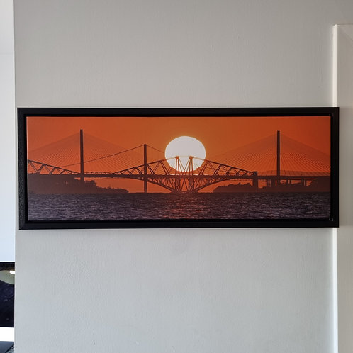 Three Bridges over the Forth Sunset Canvas Framed