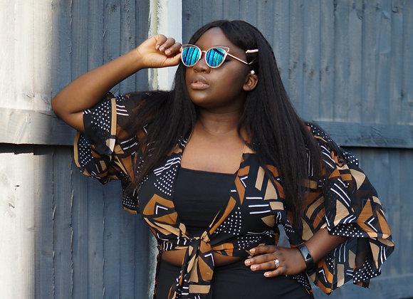 Chiffon Blouse Kimono Top African Print Clothing Asikara by Laura Jane