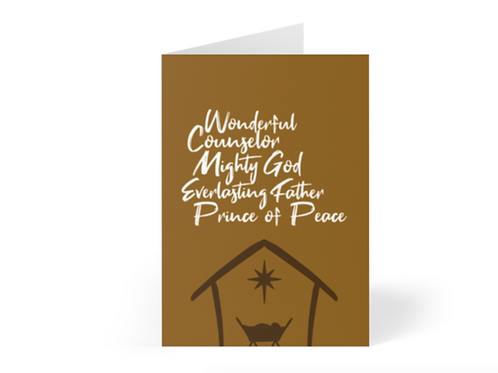 Pack of Christian Christmas Cards, Prince of Peace, Wonderful, Mighty God, Stay Lit Apparel, Christian Greetings Cards