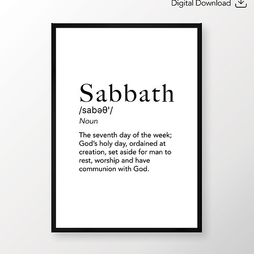 Sabbath Dictionary Definition, Christian Wall Art Print