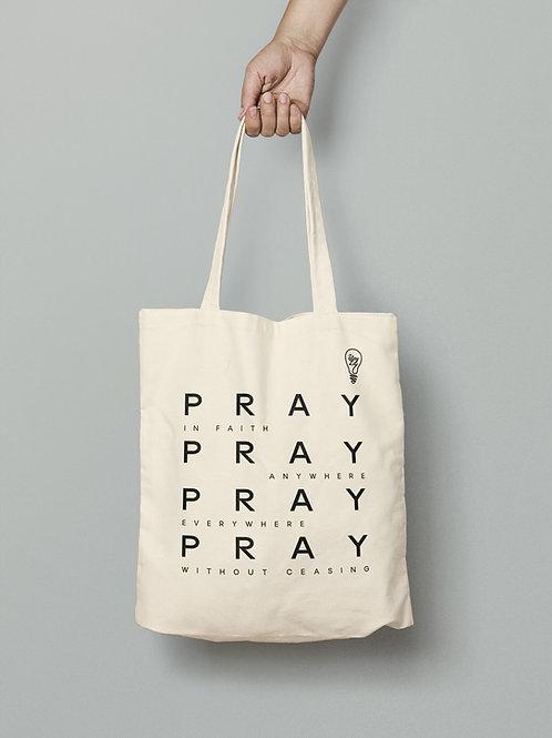 Pray in faith tote bag