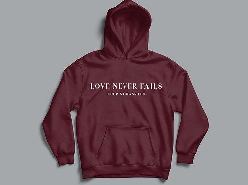 Love Never Fails Christian Hoodie