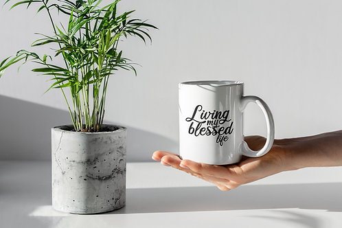 Living my blessed life Christian Gift Mug by Stay Lit Apparel UK