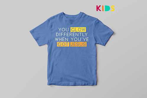 You glow differently when you've got Jesus Kids T shirt, Fun Christian Kids T shirt