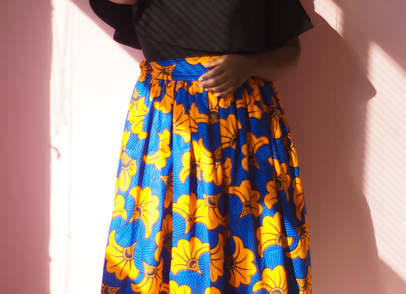 Gathered African Print Skirt