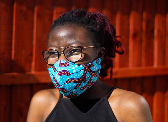 Gungwa Blue African print Face Mask Covid 19 Non surgical Asikara by Laura Jane UK