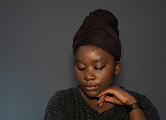 Brown Jersey Headwrap, Headwraps UK, Stretchy Headwraps, Soft Stretch Headwraps UK, High Quality, Asikara by Laura Jane