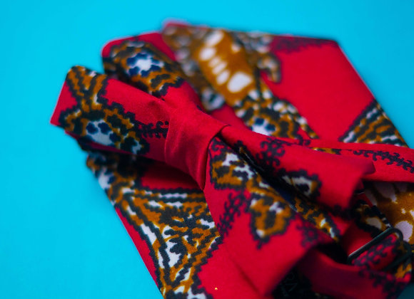 Red Simba African Print Bow Tie for Men Asikara by Laura Jane