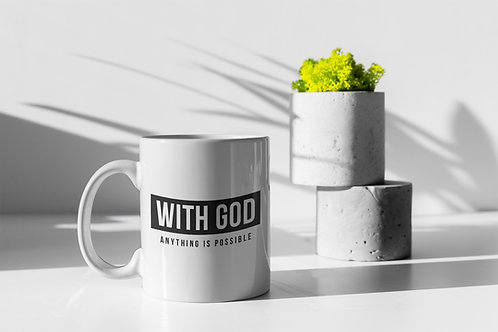 With God anything is possible mug, Christian Gifts, Stay Lit Apparel Uk Christian Brand