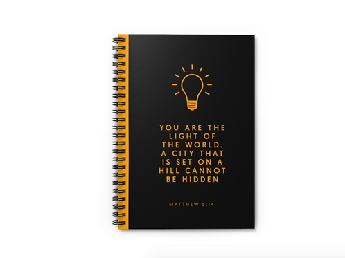 Light of the world Bible verse notebook Uk, Christian gifts by Stay Lit Apparel, Christian Stationery, Black Notebook