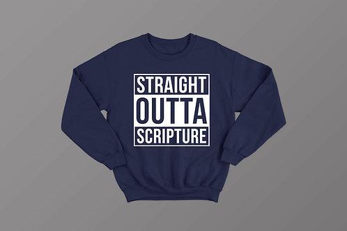 Navy Straight Outta Scripture Sweatshirt (M)