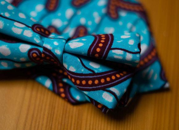 Blue African Print Bow Tie for African Wedding Grooms and Groomsmen Asikara by Laura Jane