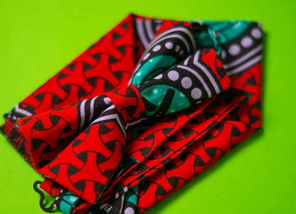 Red Ropa Asikara by Laura Jane African Wax Print Bow Tie