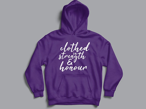 Clothed in Strength Christian Hoodie for Women