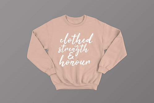 Clothed in strength and honour Christian Sweatshirt for women