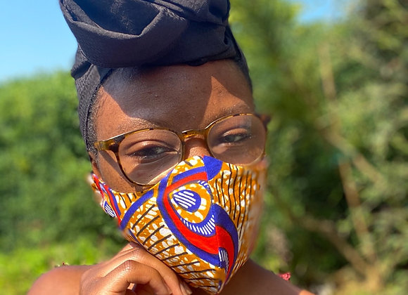 African Print Face Mask UK African Headwrap Asikara by Laura Jane