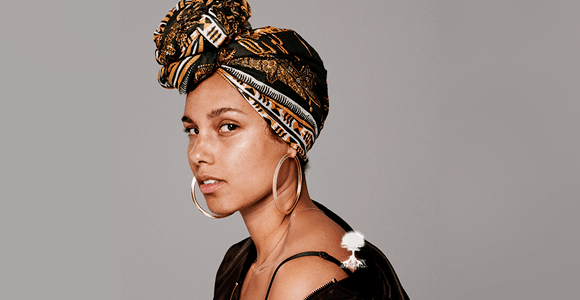 The History of the Headwrap Asikara by Laura Jane, Alicia Keys in a headwrap