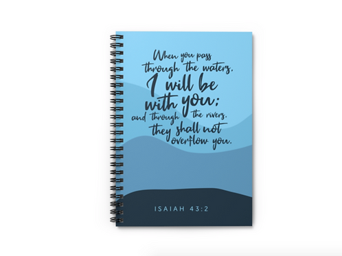 I will be with you Isaiah Bible verse notebook, Christian notebook, Stay Lit Apparel, Christian Stationery, Christian Gifts