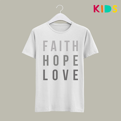 Faith Hope Love Bible Verse Christian Corinthians 13 T-shirt Children's Christian clothing, Kids Christian Clothing UK