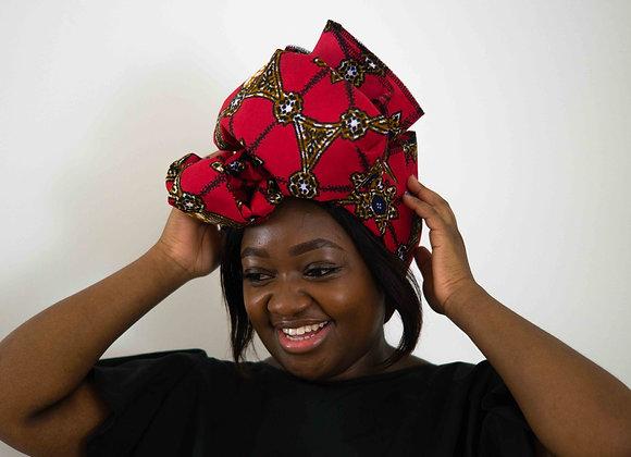 Red Headwrap African Print Headwraps UK Asikara by Laua Jane