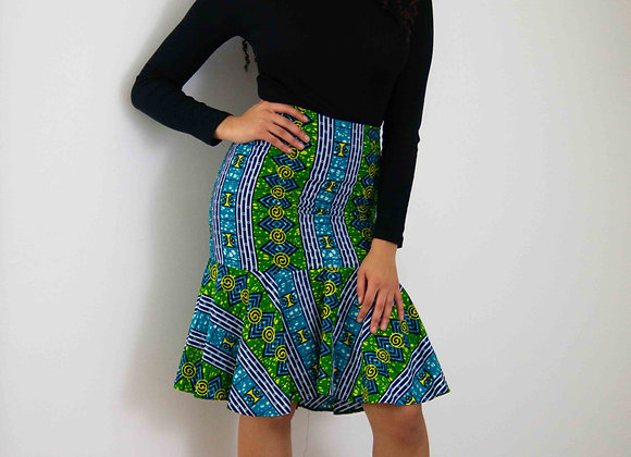 African Print Pencil Skirt With Flared Hem Asikara by Laura Jane