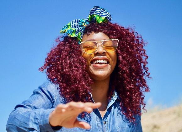 African Print Headwrap Model