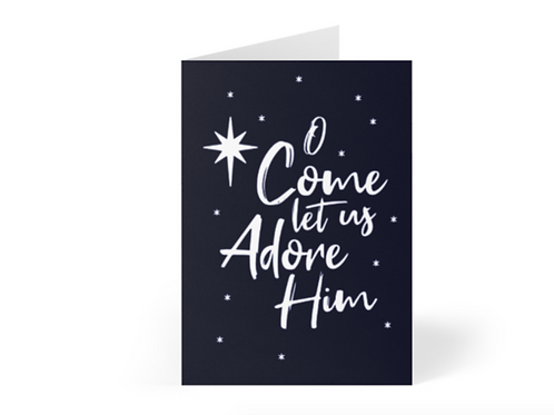 Pack of Christian Christmas Cards, O come let us adore Him, Stay Lit Apparel, Christian Greetings Cards