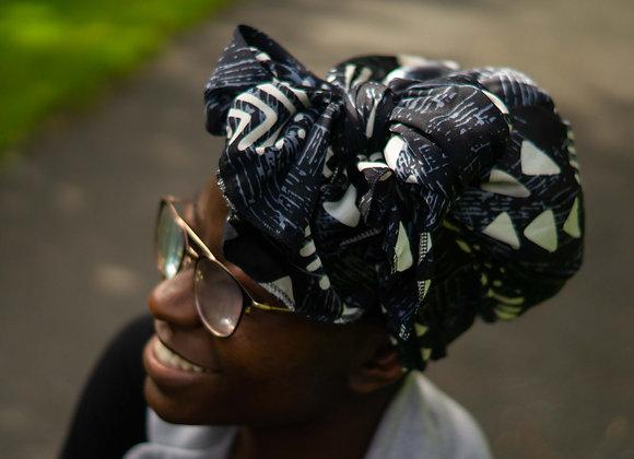 African Print Headwrap Silk Satin Asikara by Laura Jane UK