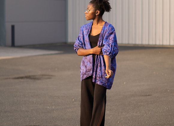 Blue Marble African Print Kimono Top by Asikara by Laura Jane African print clothing UK handmade clothing