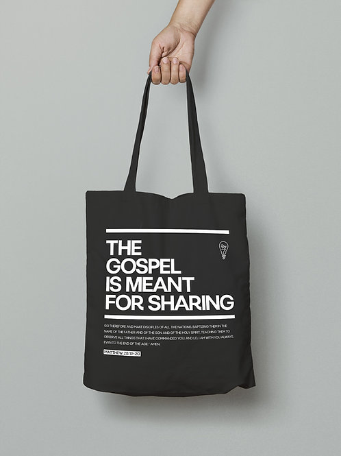 The gospel is meant for sharing Christian tote bag