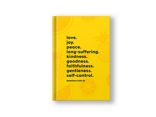 Yellow Fruits of the Spirit Prayer Journal, Christian Stationery