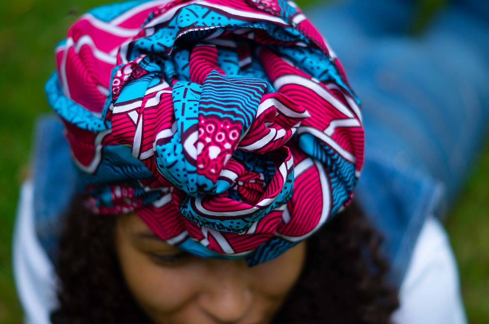 Blue and Pink Headwrap