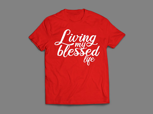 Red Living my blessed Life Christian Clothing UK by Stay Lit Apparel