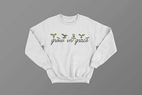 Grow in grace Christian sweatshirt by stay lit apparel Christian clothing brand uk