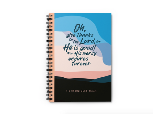 Oh give thanks Bible verse notebook, Christian notebook, Stay Lit Apparel, Christian Stationery, Christian Gifts UK
