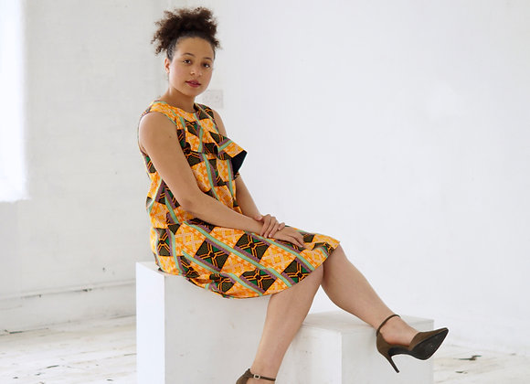 Yellow Flared African Print Ruffle Dress Asikara by Laura Jane