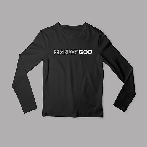 Man of God Christian Long Sleeved T-Shirt by Stay Lit Apparel Christian Clothing Brand UK