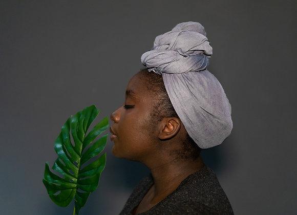 Silver Grey Jersey Headwrap Asikara by Laura Jane Headwraps UK Shop Best Headwraps