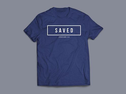Indigo Saved Christian Bible Verse T-shirt Christian Apparel by Stay Lit Apparel UK