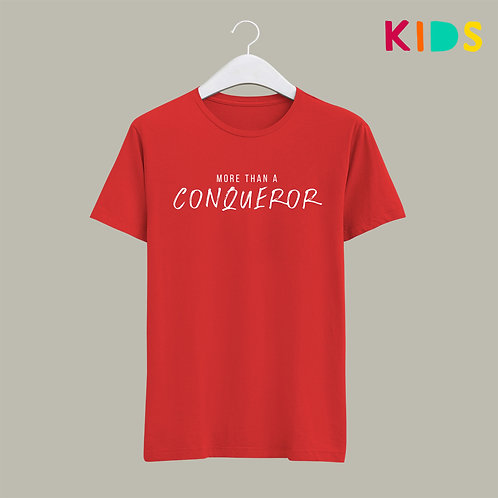 More than a conqueror Bible Verse Christian T-shirt for Kids Stay lit apparel Christian Clothing UK