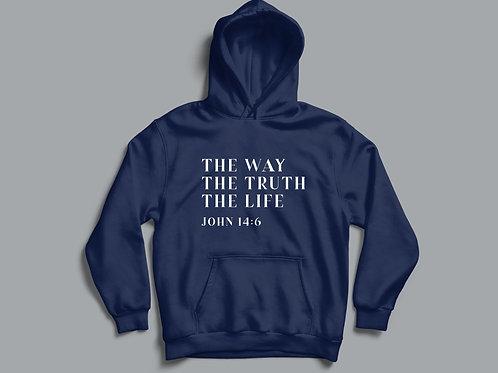 Way Truth Life Bible Verse Christian Hoodie
