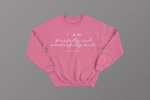 Fearfully and Wonderfully Made Christian Sweatshirt by Stay Lit Apparel Christian Clothing Brand UK