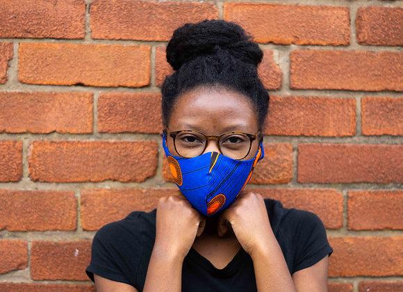 Zamara Blue and Orange African Print Face Mask Covid 19 UK