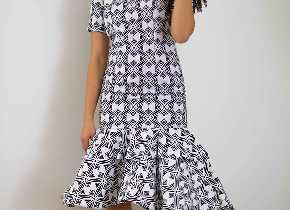 Black and White African Print Fitted Pencil Dress Asikara by Laura Jane
