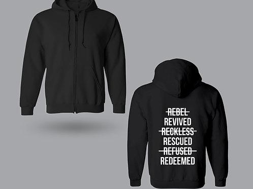 Black Rescued Christian Zip Through Hoodie UK