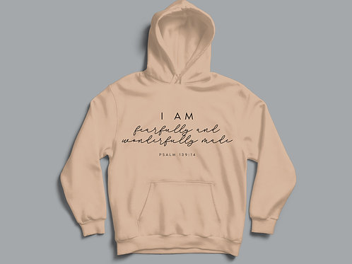 Fearfully and Wonderfully Made Psalm 139 Christian Hoodie by Stay Lit Apparel Christian Clothing Brand UK