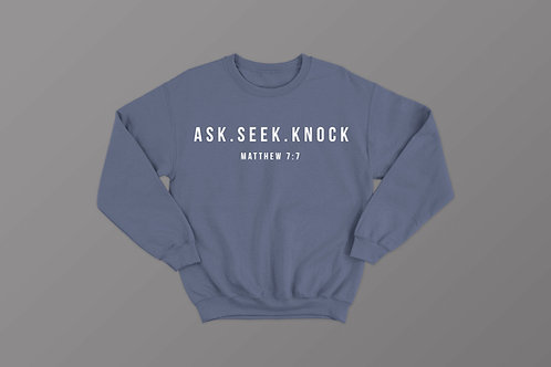 Ask seek knock, Matthew 7:7 Christian Sweatshirt, Christian Bible Verse Hoodie, Christian Clothing UK