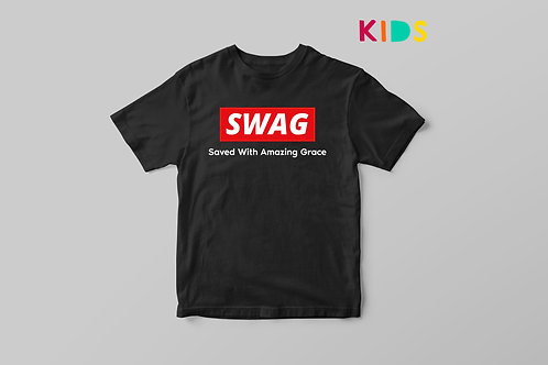Saved with amazing grace SWAG Christian T-shirt Kids by Stay Lit Apparel