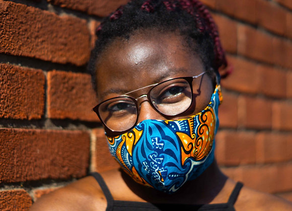 Mambo Blue Orange African print Face Mask Covid 19 Non surgical Asikara by Laura Jane UK